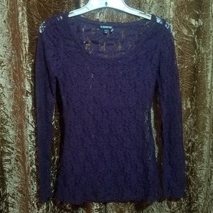 Express Dark Purple Lace Top XS / S Gothic Witchy